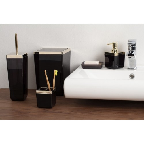Picture of Primanova Toskana Gold Framed Bathroom Accessories Set of 5 - Transpared Black