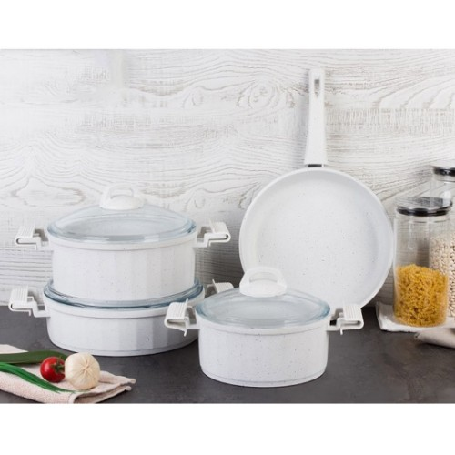 Picture of Casting Nonstick Cookware Set 7 Pieces - White